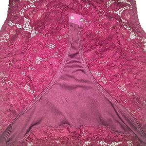 boutiqe bought Tops - Floral Lace Burgundy Sleeveless Bodysuit